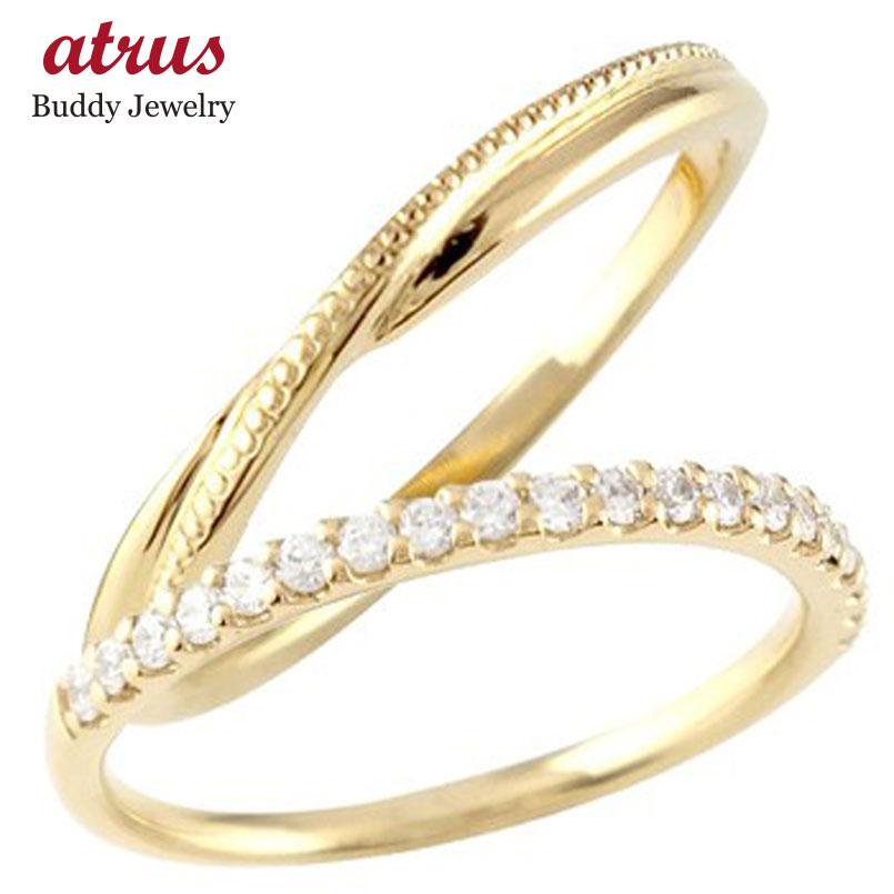ペアリング 結婚指輪 マリッジリング ハーフエタニティ ダイヤモンド イエローゴールドk10 10金 極細 華奢 結婚式 ストレート