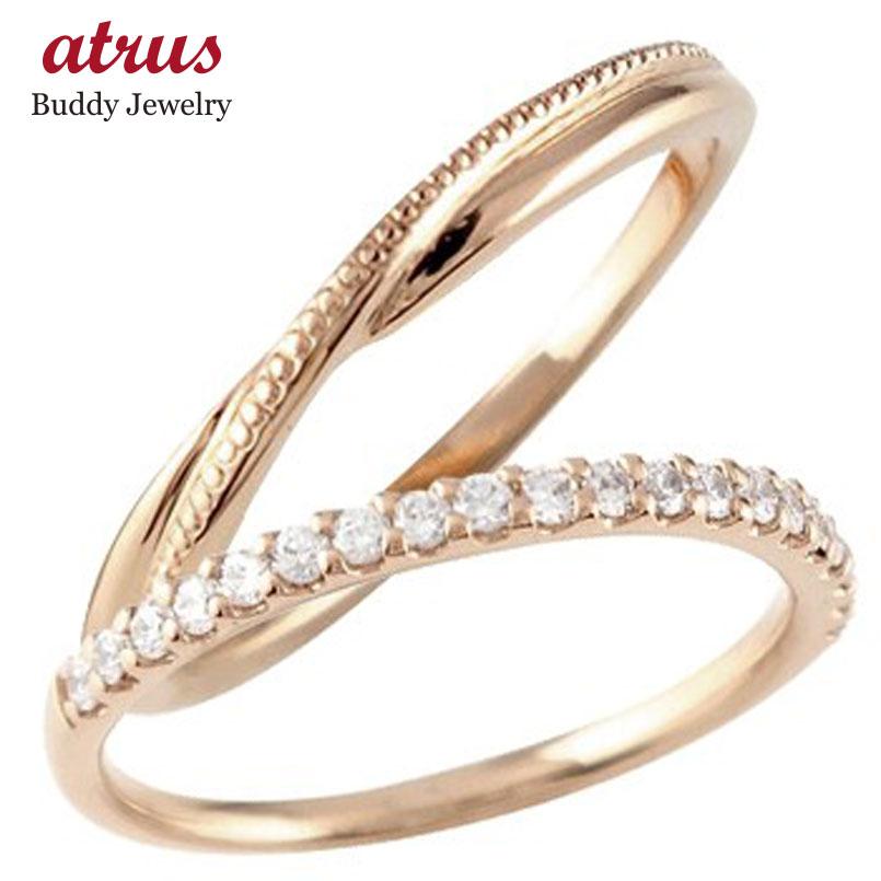ペアリング 結婚指輪 マリッジリング ハーフエタニティ ダイヤモンド ピンクゴールドk10 10金 極細 華奢 結婚式 ストレート