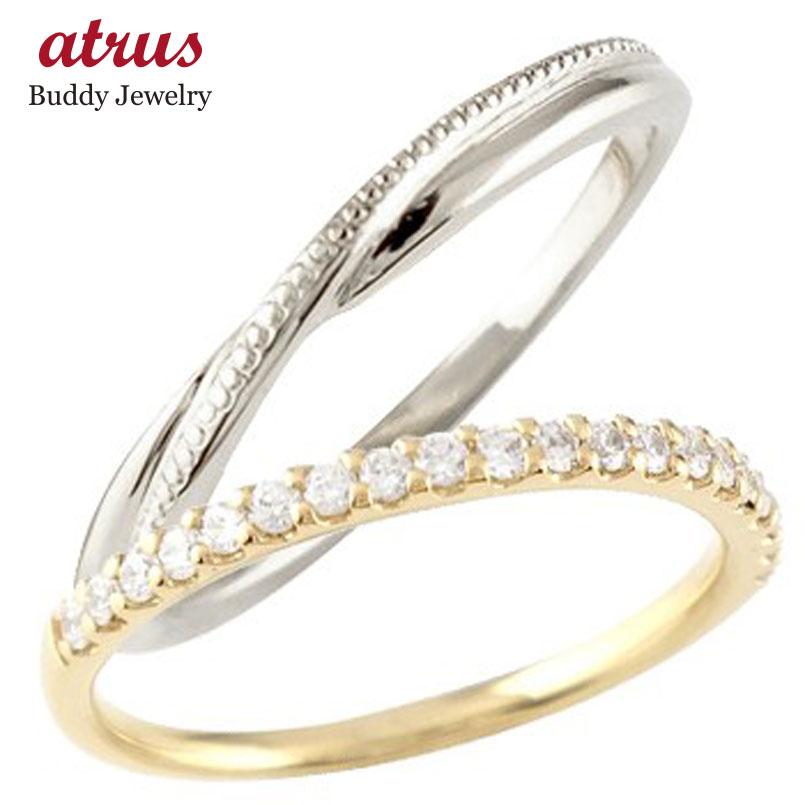ペアリング 結婚指輪 マリッジリング ハーフエタニティ ダイヤモンド イエローゴールドk10 ホワイトゴールドk10 10金 極細 華奢 結婚式 ストレート