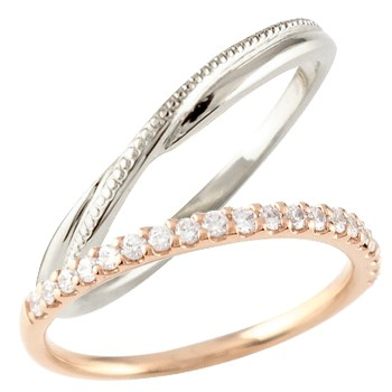 ペアリング 結婚指輪 マリッジリング ハーフエタニティ ダイヤモンド ピンクゴールドk10 ホワイトゴールドk10 10金 極細 華奢 結婚式 ストレート
