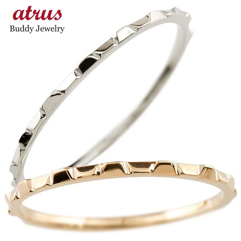ペアリング 結婚指輪 マリッジリング 地金リング ピンクゴールドk18 ホワイトゴールドk18 18金 指輪 結婚式 ストレート