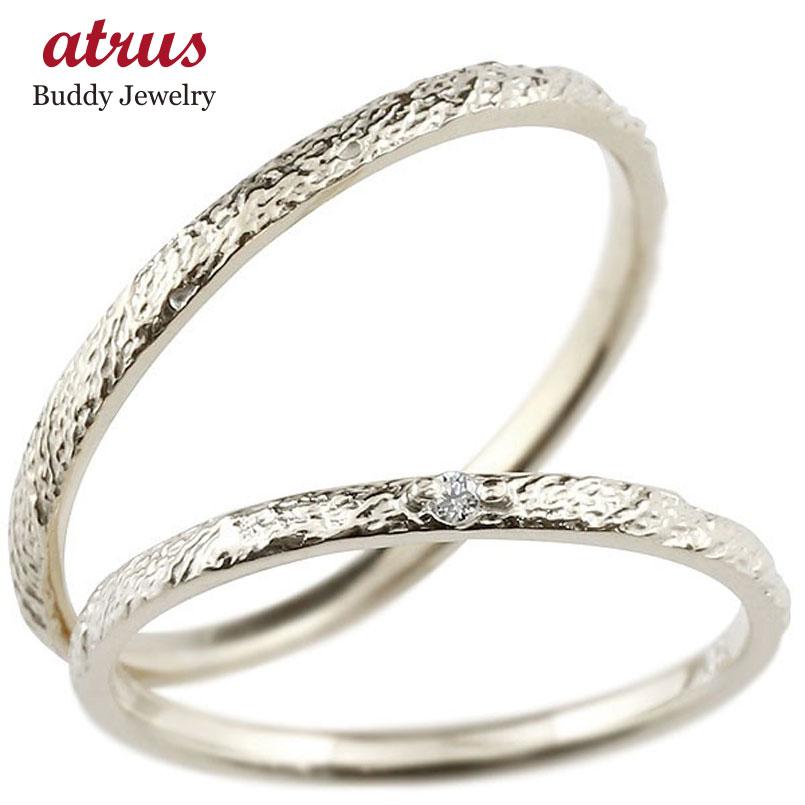 ペアリング 結婚指輪 マリッジリング ホワイトゴールドk10 ダイヤモンド 10金 極細 ダイヤ 華奢 アンティーク 結婚式 ストレート