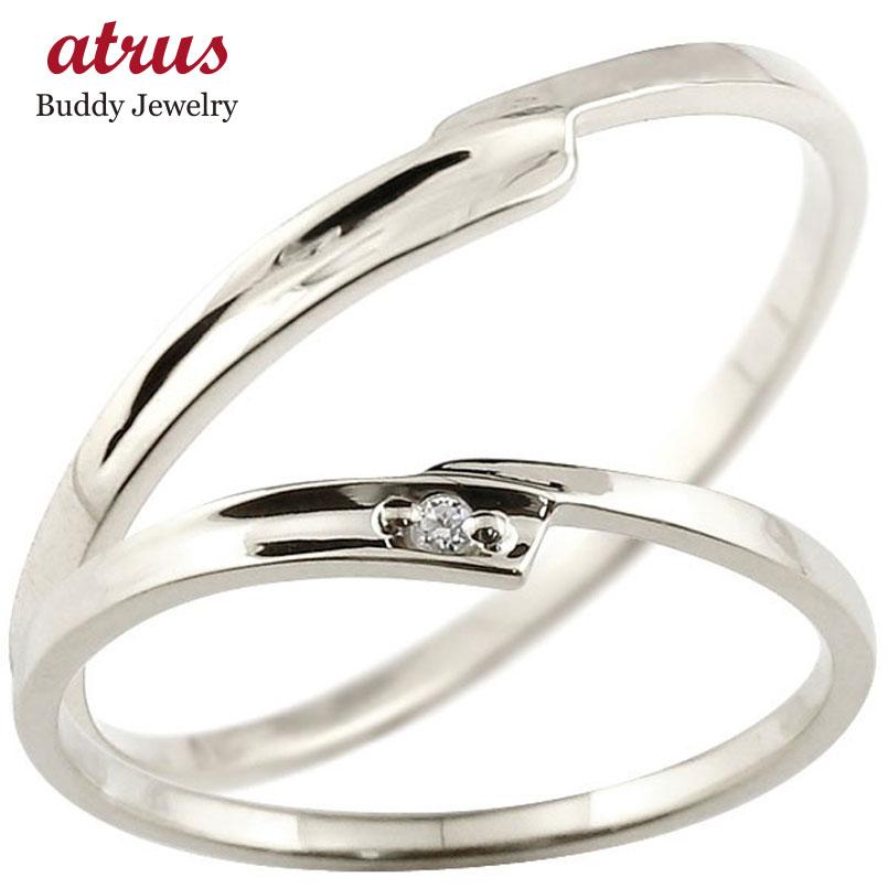 ペアリング 結婚指輪 マリッジリング ダイヤモンド ホワイトゴールドk10 ダイヤ 10金 極細 華奢 スパイラル 結婚式
