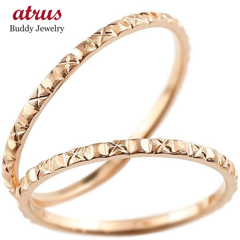 ペアリング 結婚指輪 マリッジリング ピンクゴールドk10 k10 極細 華奢 アンティーク 結婚式 ストレート ペアリィー