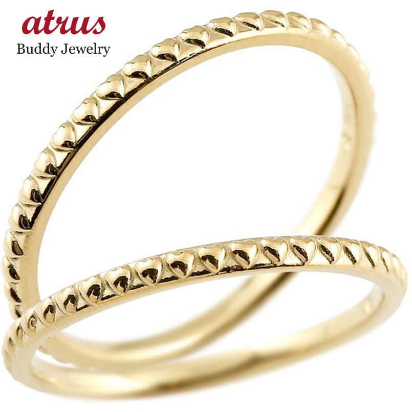 ペアリング 結婚指輪 マリッジリング ハート イエローゴールドk10 極細 華奢 アンティーク 10金 結婚式 ストレート ペアリィー