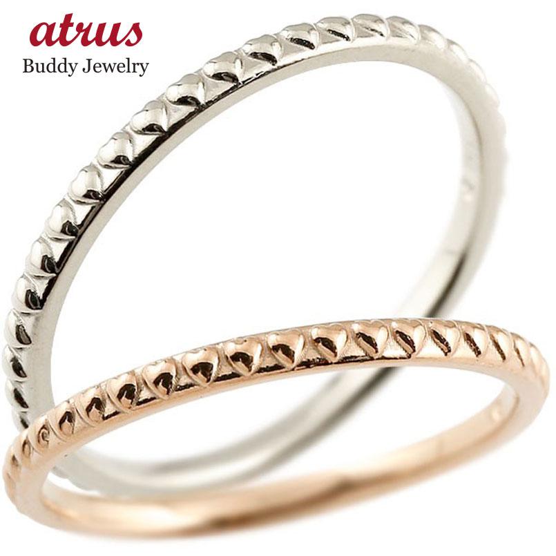 ペアリング 結婚指輪 マリッジリング ハート ピンクゴールドk10 ホワイトゴールドk10 極細 華奢 アンティーク 10金 結婚式 ストレート ペアリィー