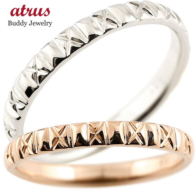ペアリング 結婚指輪 マリッジリング ピンクゴールドk18 プラチナ900 pt900 アンティーク 結婚式 ストレート