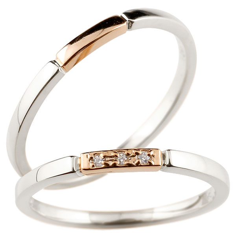 ペアリング プラチナ ピンクゴールドk10 ダイヤモンド スイートペアリィー 結び 結婚指輪 マリッジリング リング pt900 10金 華奢 ストレート 地金リング コンビ