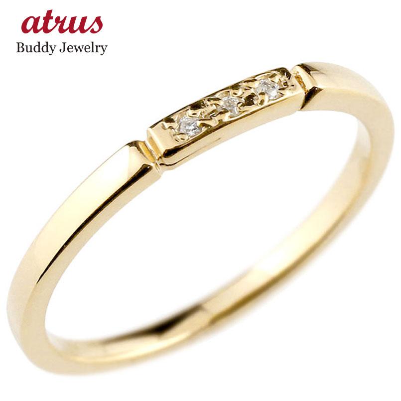 ダイヤモンド イエローゴールドk18 ピンキーリング 結び エンゲージリング リング 18金 華奢 ストレート 指輪