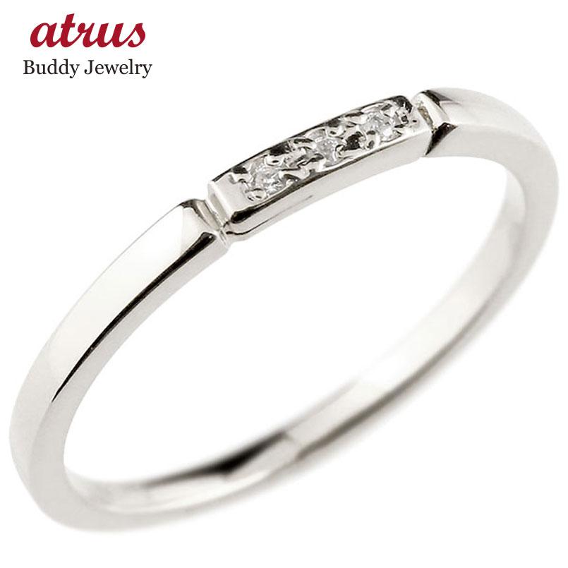 ダイヤモンド ホワイトゴールドk18 ピンキーリング 結び エンゲージリング リング 18金 華奢 ストレート 指輪