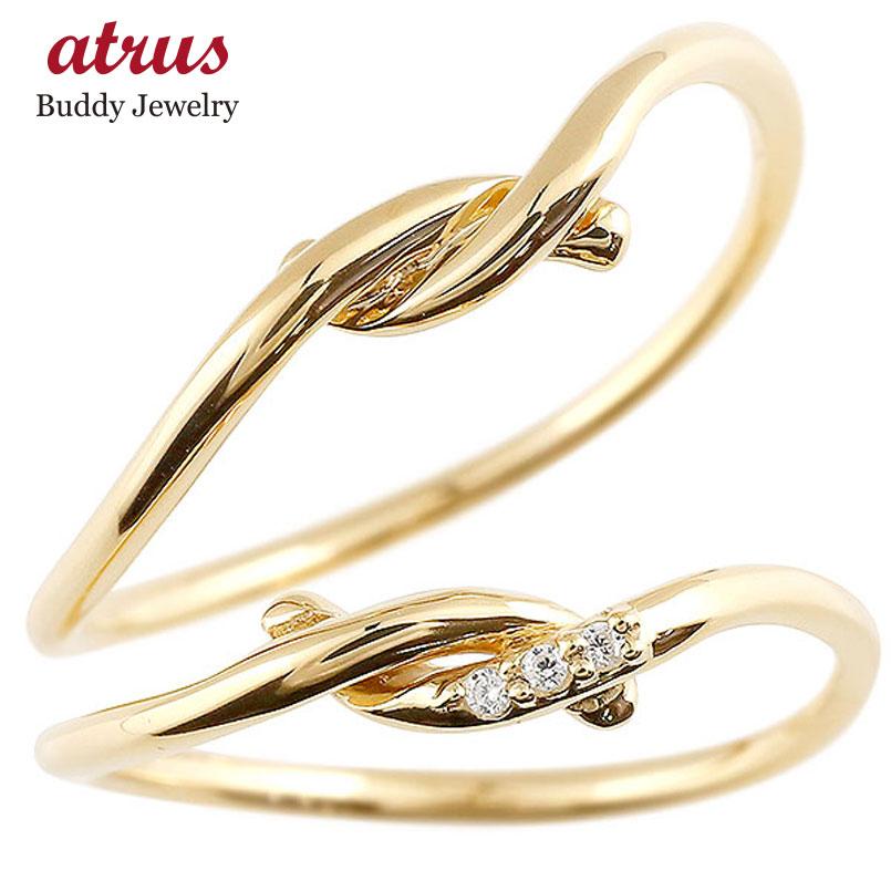 ペアリング イエローゴールドk18 ダイヤモンド スイートペアリィー 結び 結婚指輪 マリッジリング リング 18金 華奢 ストレート