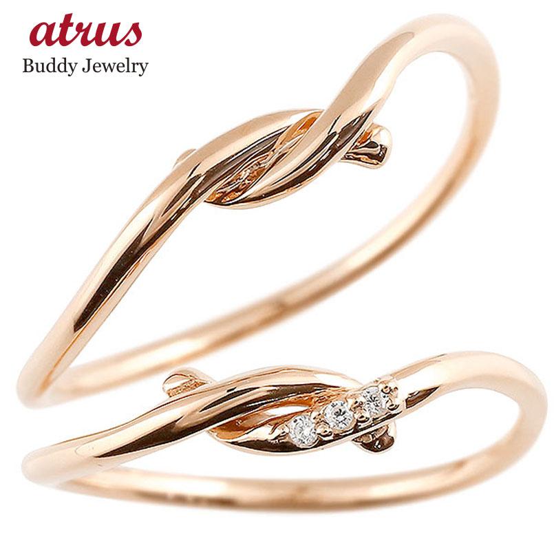 ペアリング ピンクゴールドk18 ダイヤモンド スイートペアリィー 結び 結婚指輪 マリッジリング リング 18金 華奢 ストレート
