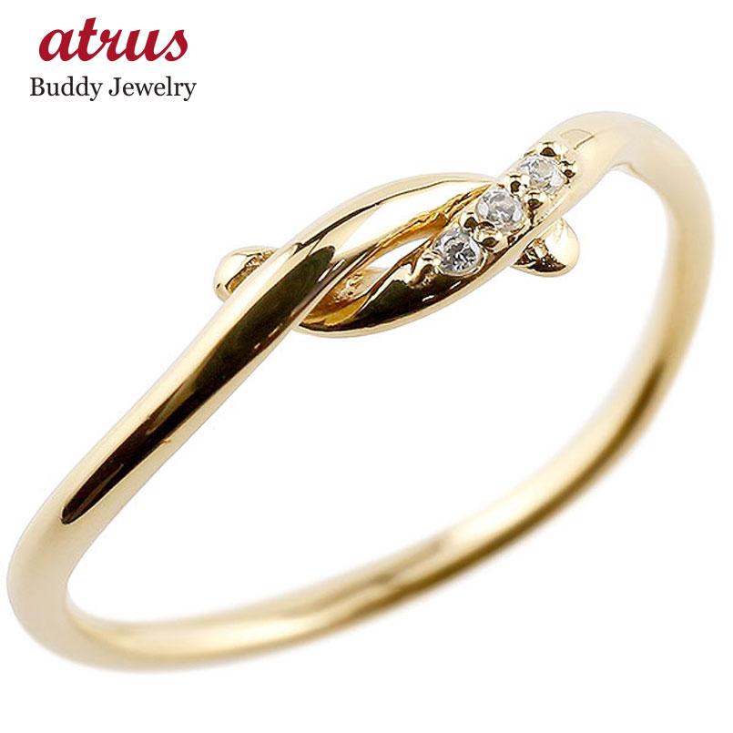ダイヤモンド イエローゴールドk18 エンゲージリング 結び リング ピンキーリング 指輪 18金 華奢 ストレート ダイヤ