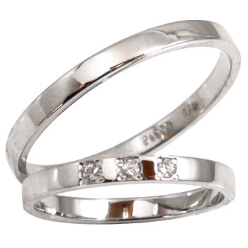 【送料無料・結婚指輪】ペアアクセサリーの中で人気のペアリングホワイトゴールドk10ダイヤモンド☆2本セット☆指輪