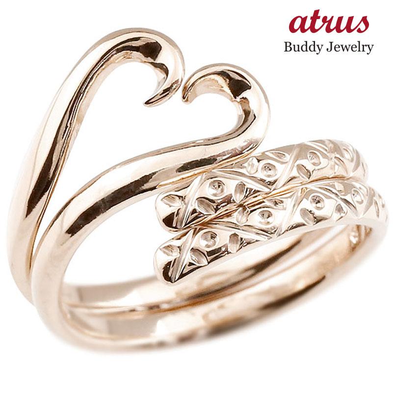スイートハグリング ペアリング 結婚指輪 マリッジリング ピンクゴールドk10 フリーサイズリング 指輪 ハンドメイド 結婚式