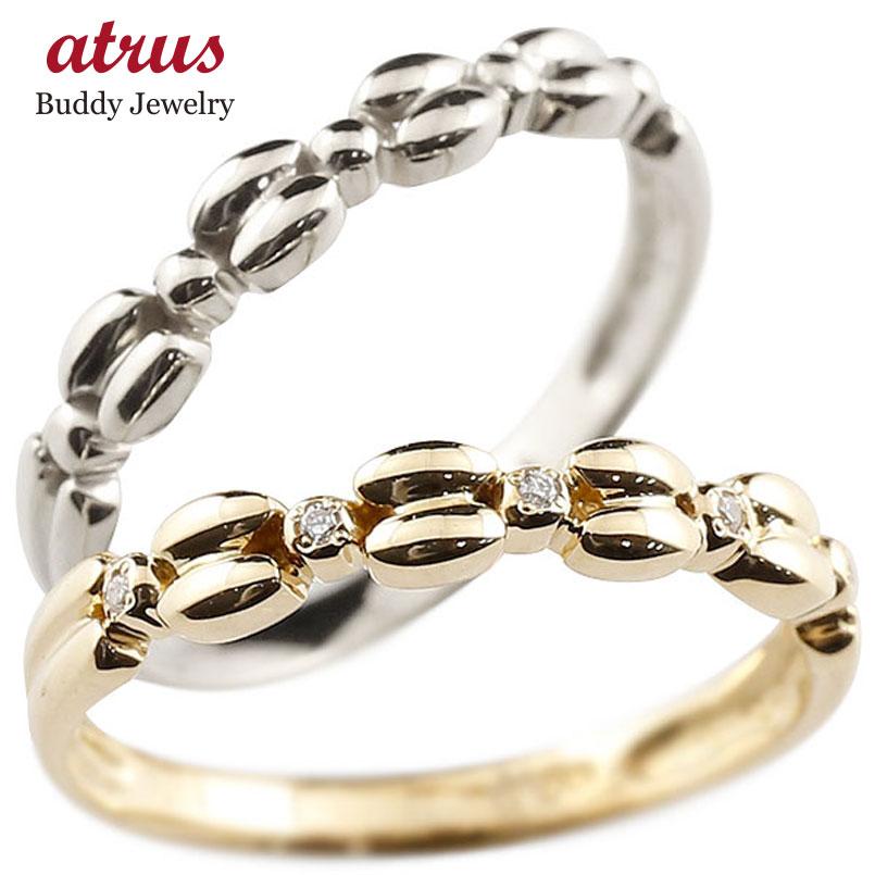 ダイヤモンド プラチナ ゴールドリング ペアリング ダイヤ  pt900 k10 極細 華奢 アンティーク ストレート 指輪