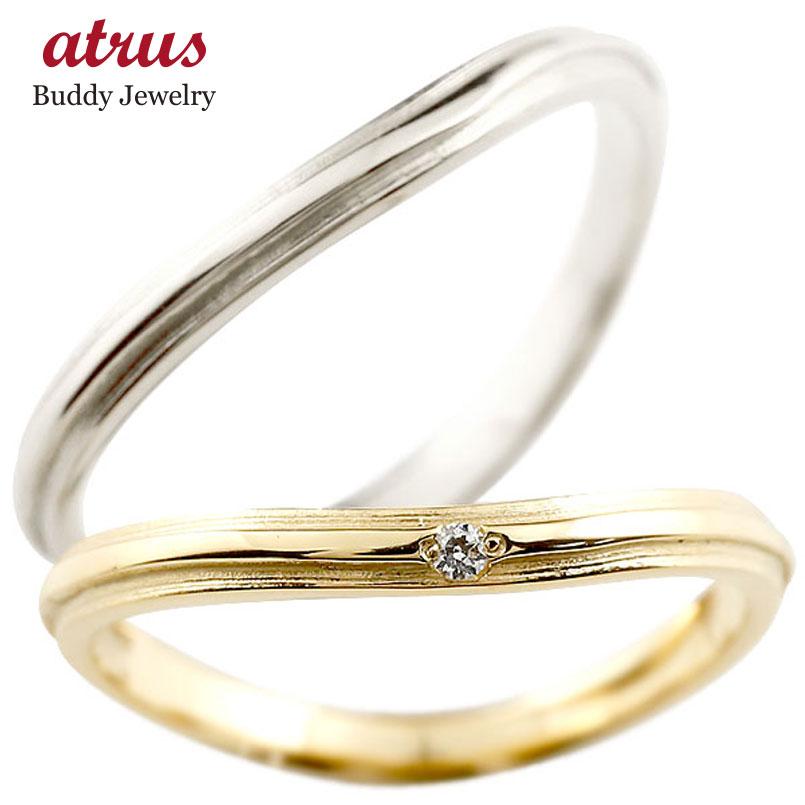 ダイヤモンド プラチナ ゴールドリング ペアリング ダイヤ  pt900 k18 極細 華奢 アンティーク ストレート 指輪