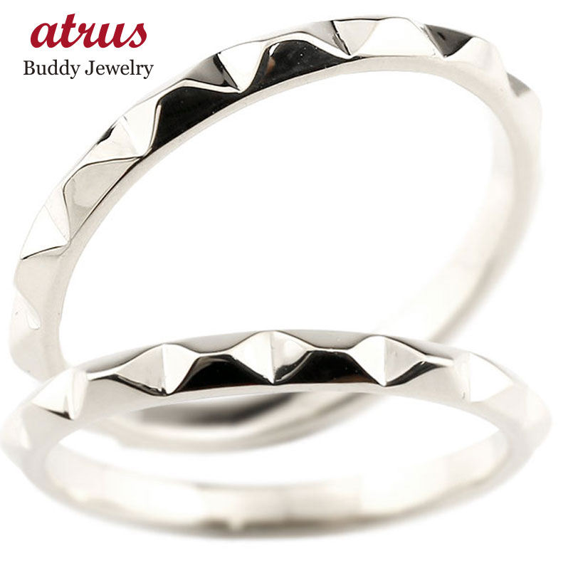 マリッジリング 結婚指輪 ホワイトゴールドk10 ペアリング ストレート カップル 10金 宝石なし 地金 メンズ レディース