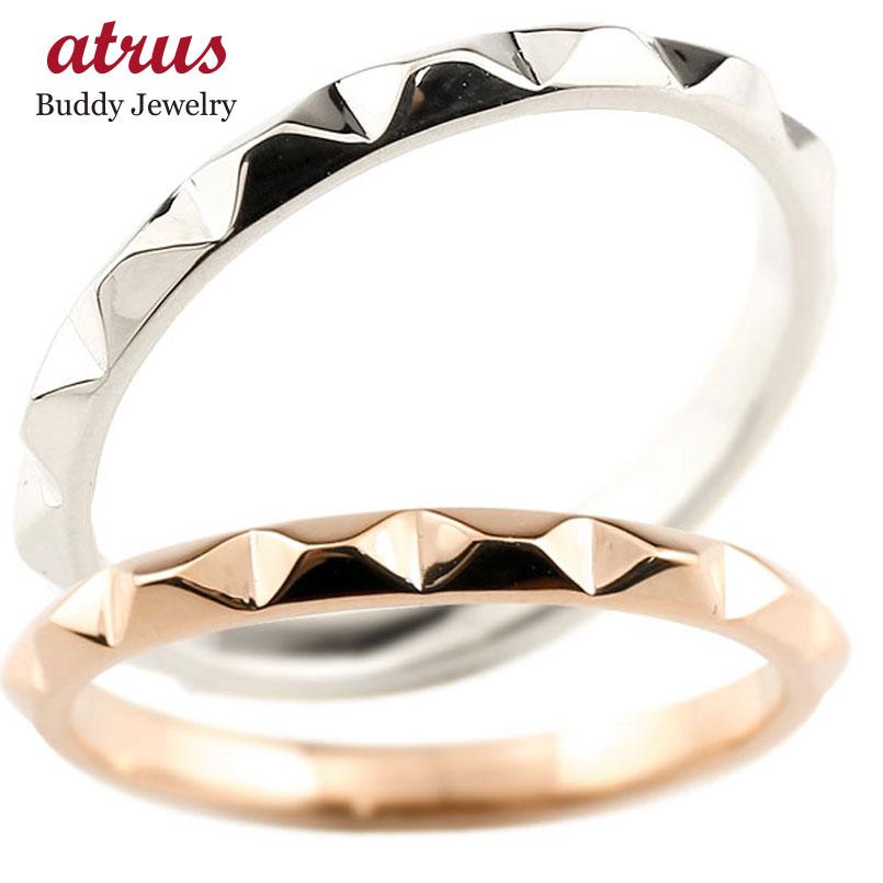 ホワイトゴールドk10 マリッジリング 結婚指輪 ピンクゴールドk10 ペアリング ストレート カップル 10金 宝石なし 地金 メンズ レディース