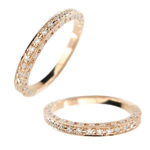 レディース ペアリング マリッジリング 結婚指輪 ダイヤモンド エタニティ エタニティリング リング ハーフエタニティ ピンクゴールドk18 18金 ダイヤ ストレート トラスト