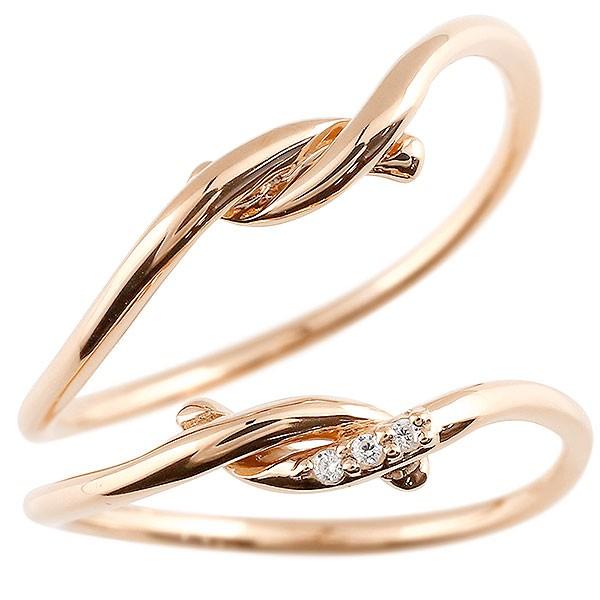 ペアリング ピンクゴールドk10 ダイヤモンド スイートペアリィー 結び 結婚指輪 マリッジリング リング 10金 華奢 ストレート