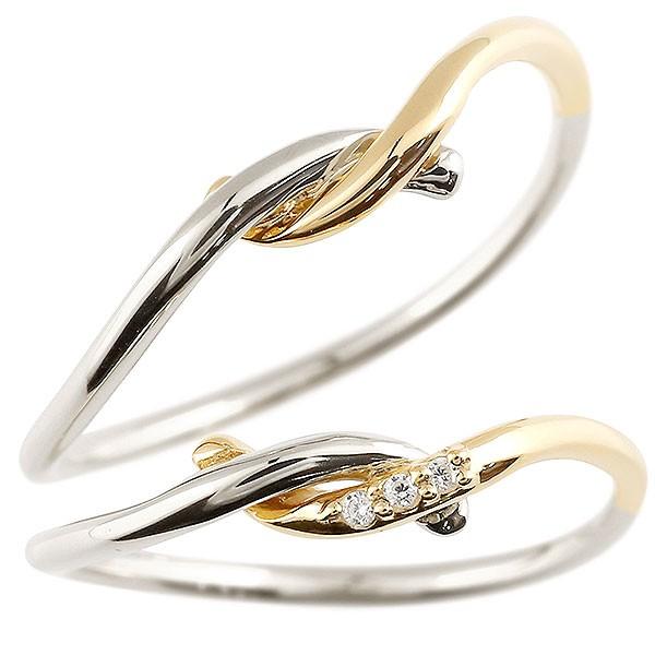 ペアリング プラチナ ダイヤモンド スイートペアリィー 結び 結婚指輪 マリッジリング リング pt900 華奢 ストレート