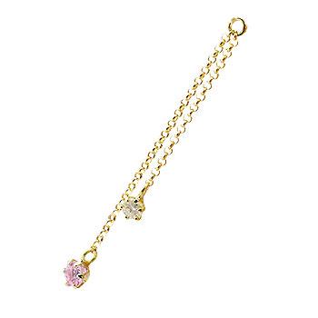 1個 パーツ ピアス用 イヤリング用 イエローゴールドk18 ピンクサファイア ダイヤモンド シンプル レディース