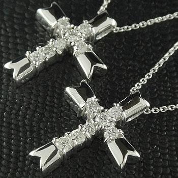 ペアネックレス ペンダント クロス 十字架 ダイヤモンド プラチナ