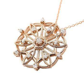 雪の結晶 ネックレス ダイヤモンド ペンダント ピンクゴールドk18 ダイヤ スノーモチーフ アンティーク レディース チェーン 人気