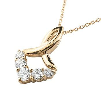 ダイヤモンド ネックレス ペンダント ピンクゴールドk18 ダイヤ V字デザイン 18金 レディース チェーン 人気