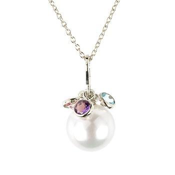 パール ネックレス 天然石 ペンダント ホワイトゴールドk18 真珠 フラワー つぼみ 18金 レディース チェーン 人気