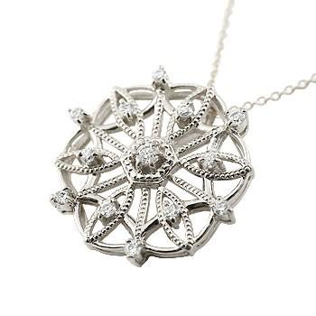 雪の結晶 プラチナ ネックレス ダイヤモンド ペンダント ダイヤ スノーモチーフ アンティーク レディース チェーン 人気