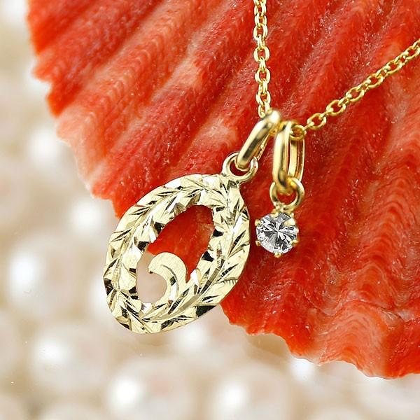ハワイアンジュエリー 数字 0 ダイヤモンド ネックレス ペンダント イエローゴールドk18 ナンバー レディース チェーン 人気 4月誕生石