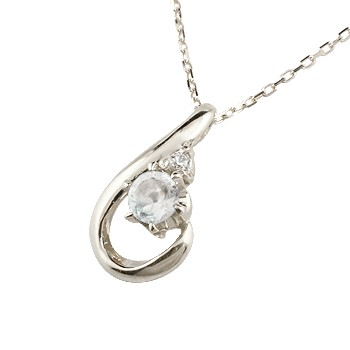 ブルームーンストーン ネックレス ダイヤモンド ホワイトゴールド ペンダント ドロップ型 チェーン 人気 6月誕生石 k10