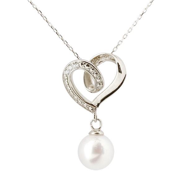 真珠 パール ネックレス ダイヤモンド ホワイトゴールドk10ペンダント オープンハート チェーン 人気 6月誕生石 10金 レディース
