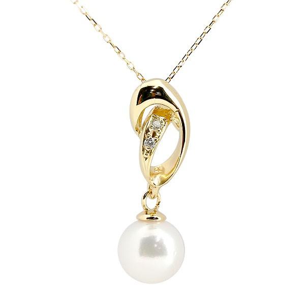 真珠 パール ネックレス ダイヤモンド イエローゴールドk10ペンダント チェーン 人気 6月誕生石 10金 レディース