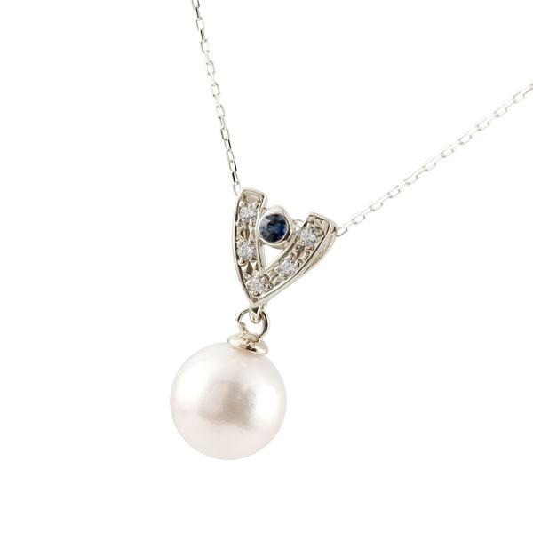 パールペンダント 真珠 誕生石 サファイア ネックレス プラチナ ダイヤモンド ペンダント チェーン 人気 9月誕生石 6月誕生石 pt900 レディース