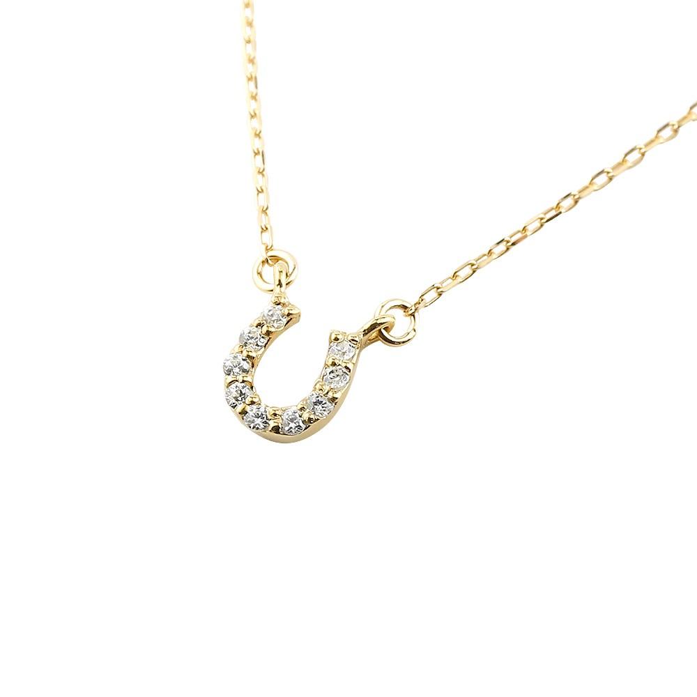 ダイヤモンド ネックレス 揺れる ダイヤ ペンダント イエローゴールドk10 チェーン 人気 10金 馬蹄 バテイ