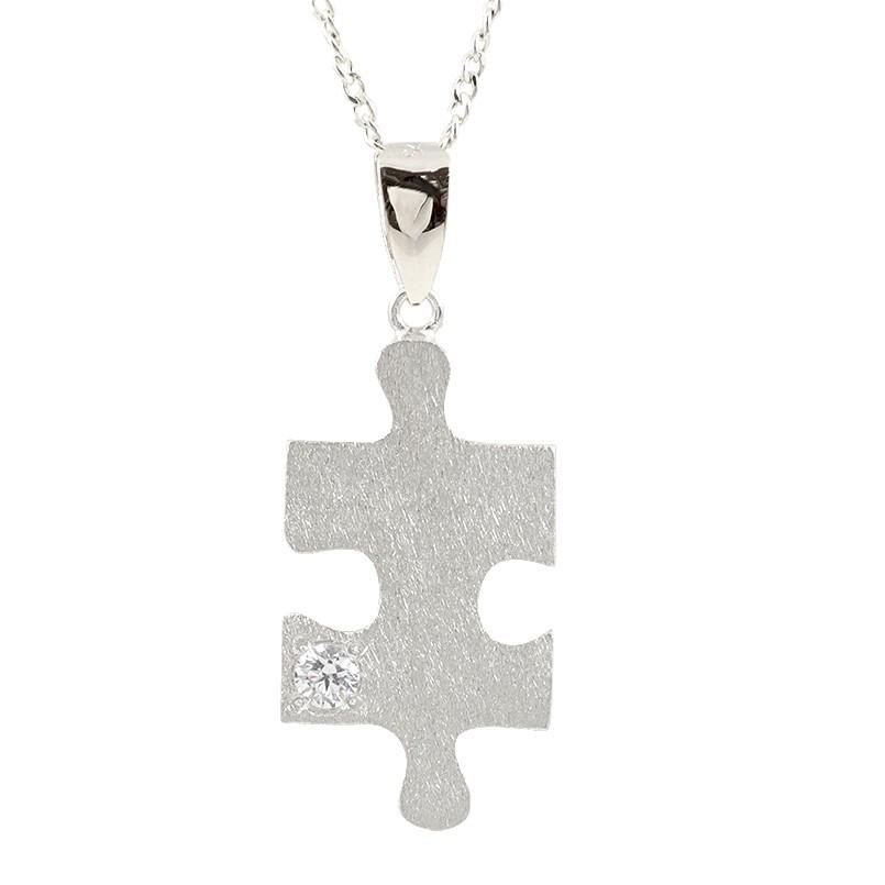 ネックレス ダイヤモンド ホワイトゴールドk18 パズル ピース ペンダント シンプル チェーン ホーニング加工 つや消