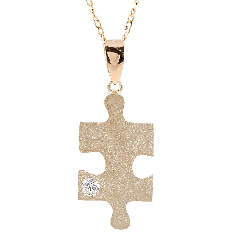 ネックレス ダイヤモンド ピンクゴールドk18 パズル ピース ペンダント シンプル チェーン ホーニング加工 つや消