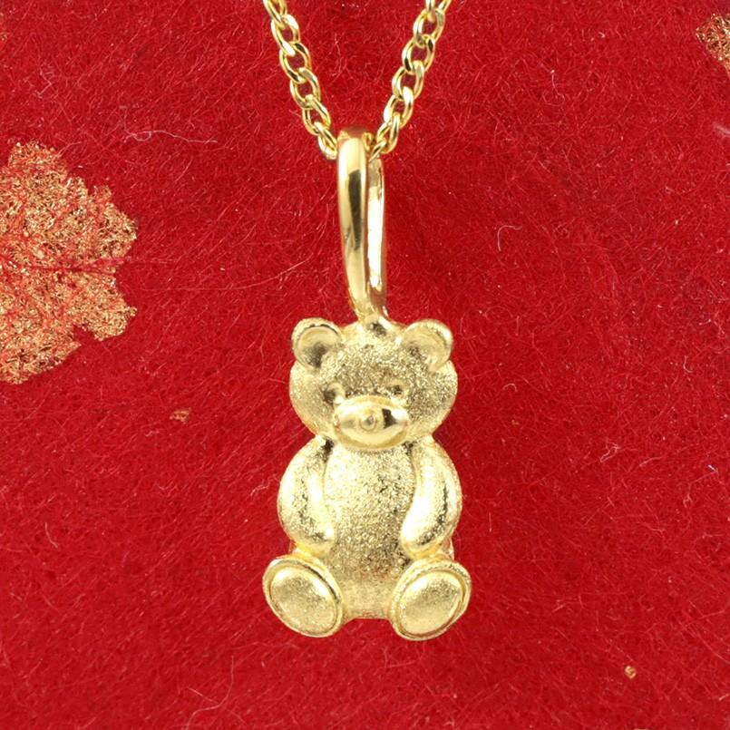ネックレス 純金 クマ ゴールド 24K テディベア ペンダント 24金 ゴールド k24 レディース くま 熊