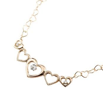 オープンハート ネックレス ダイヤモンド ペンダント ピンクゴールドk10 10金 ハートネックレス 4月誕生石 ミル打ち チェーン 人気