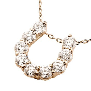 馬蹄 ネックレス ダイヤモンド ペンダント ピンクゴールドk18 ホースシュー 蹄鉄 ダイヤ 18金 チェーン 人気