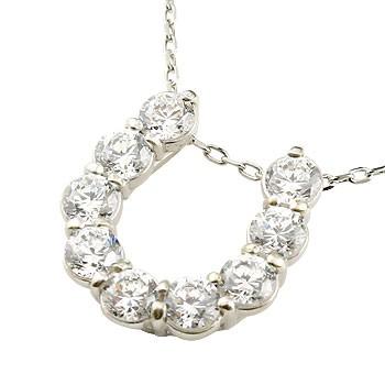 馬蹄 ネックレス ダイヤモンド ペンダント ホワイトゴールドk10 ホースシュー 蹄鉄 ダイヤ 10金 チェーン 人気
