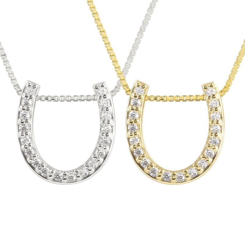 ペアネックレス 馬蹄 ネックレス ダイヤモンド ホワイトゴールドk18  イエローゴールドk18 ペンダント ホースシュー 蹄鉄 ダイヤ 18金 チェーン 人気 バテイ