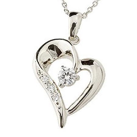 オープンハート プラチナ ネックレス ダイヤモンド ダイヤ ペンダント レディース チェーン 人気