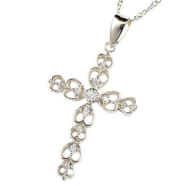 新作 ネックレス ダイヤモンド クロス オープンハート プラチナ ペンダント pt900 チェーン 十字架 ハート ダイヤ レディース 人気