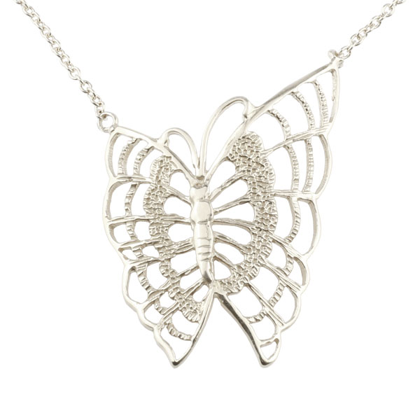 ネックレス 蝶 バタフライ ホワイトゴールドk18 レディース