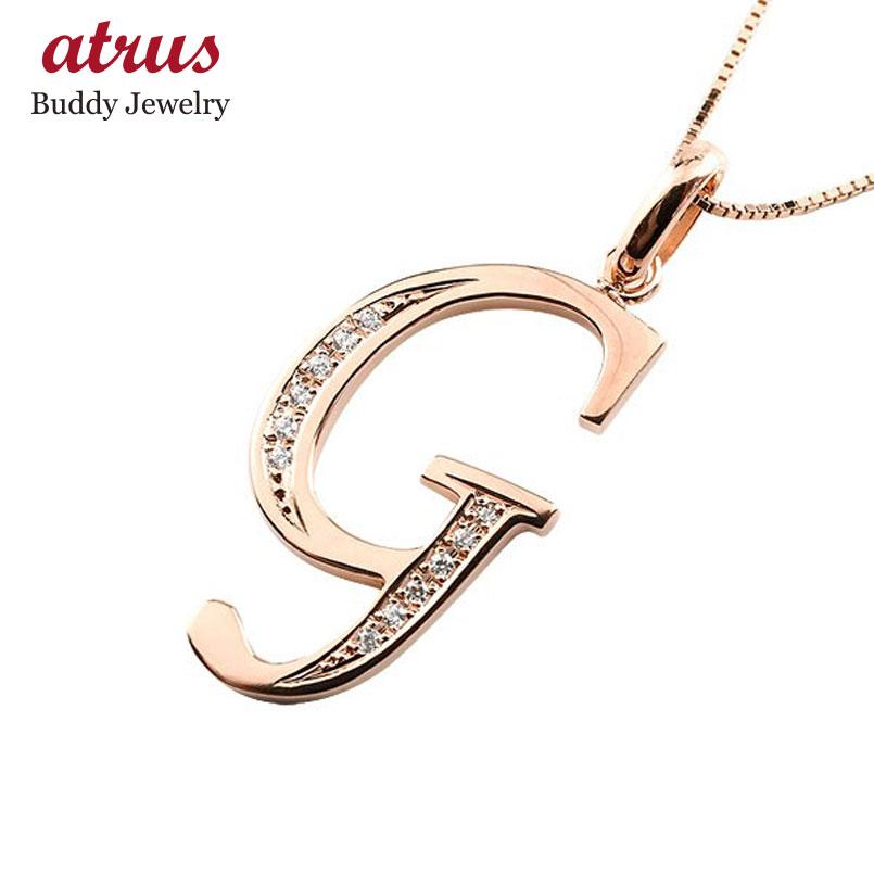 イニシャル G ネックレス ピンクゴールドk10 ペンダント ダイヤモンド アルファベット レディース チェーン 人気
