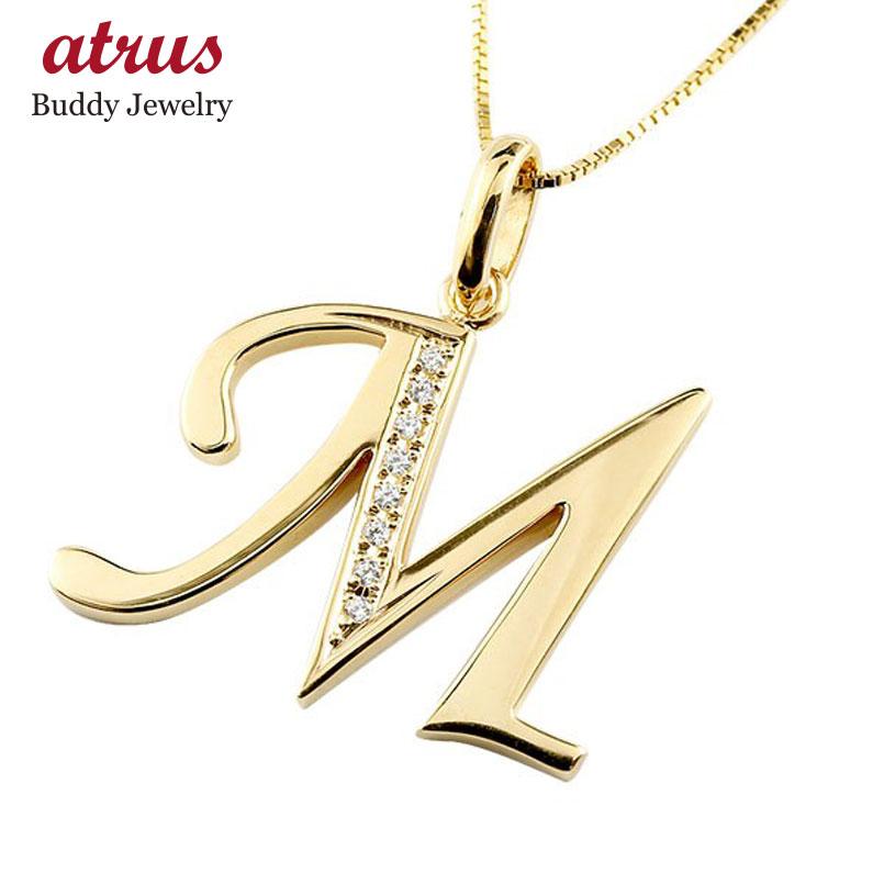 イニシャル M ネックレス イエローゴールドk18 ペンダント ダイヤモンド アルファベット レディース チェーン 人気
